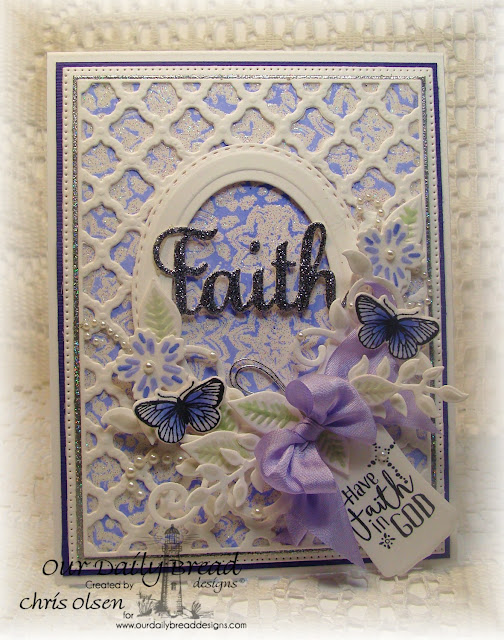 Our Daily Bread Designs, Boho Faith, Boho Background die, Boho Background stamp set, Ovals dies, Stitched Ovals, Mini tags die, Fancy Foliage, Birds and flowers die, Butterfly and Bugs, Butterfly and Bugs die, designed by Chris Olsen