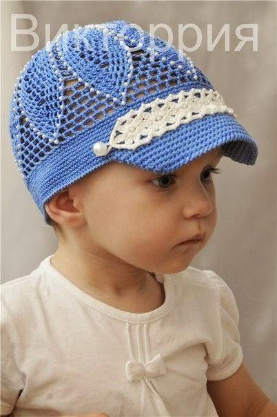 Gorro con visera para niño tejido al crochet - con diagramas