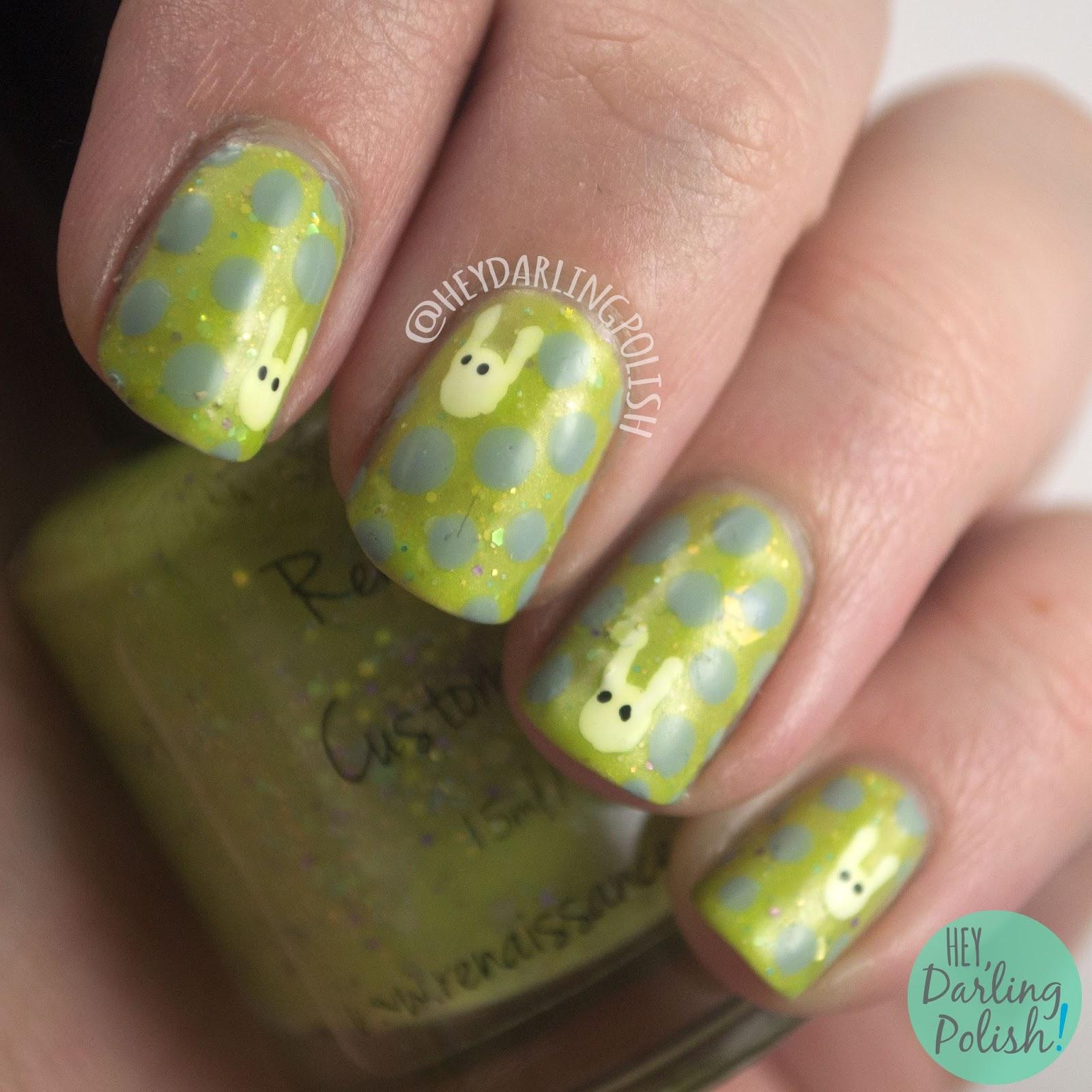 nails, nail art, nail polish, hey darling polish, easter, bunnies, nail linkup, polka dots, indie polish,