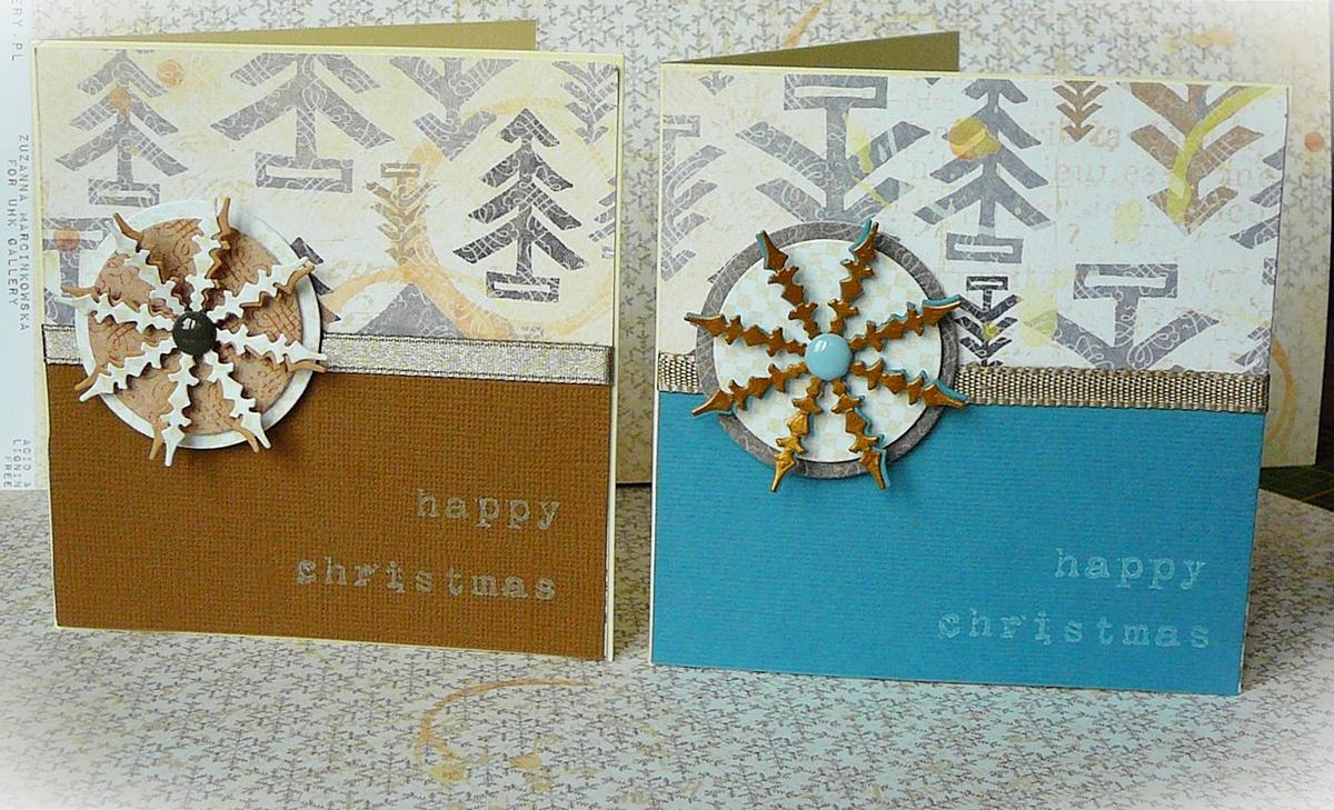kartki handmade na święta ze śnieżynkami