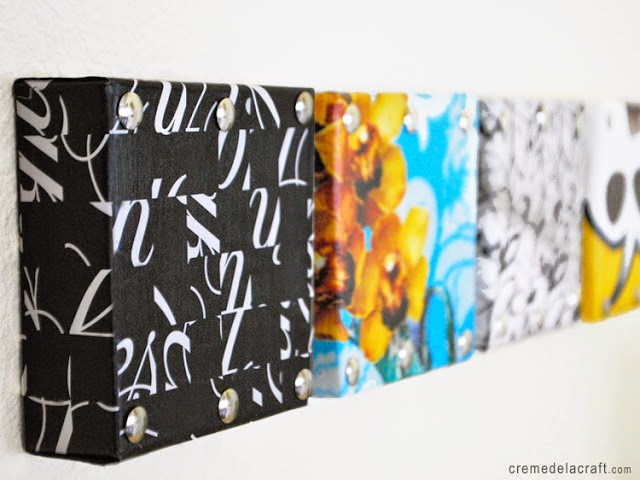 upcycled shoe box and magazine wall art