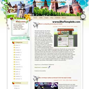Delight in Sweden Castle blogger template from wordpress. blogger template for travel blog