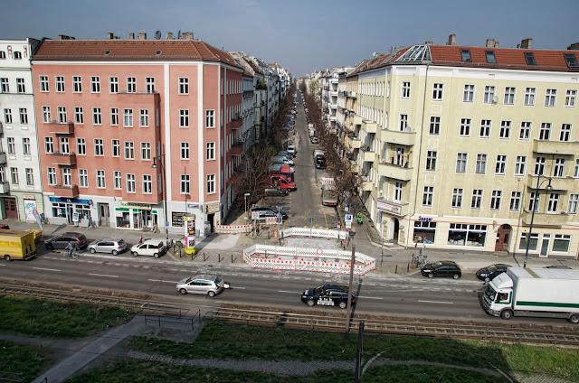 Baustelle Greifswalder Str. / Christburger Str., Straßenbauarbeiten, 10405 Berlin, 02.04.2014