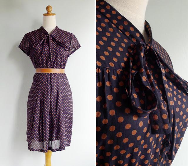 vintage pussy bow black cotton dress