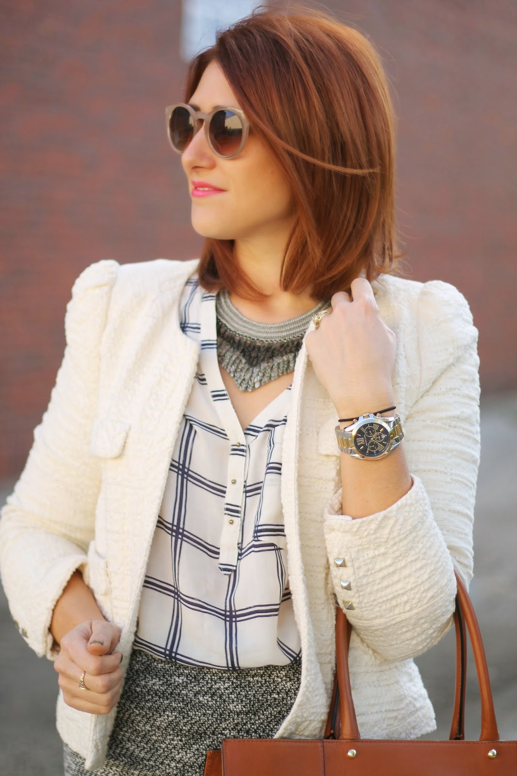 loft, metallic, leaf, necklace, bradshaw, michael, kors, watch