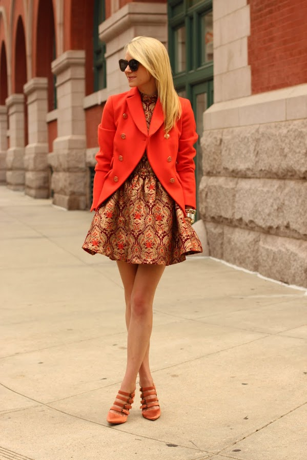 atlantic pacific ootd fashion jcrew tapestry topshop dress orange blazer