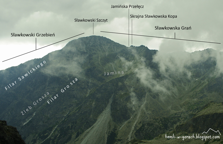 Widok na Sławkowski Szczyt z Czerwonej Ławki