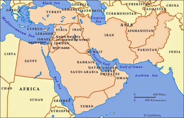 Middle East political map with country boundaries shown.
