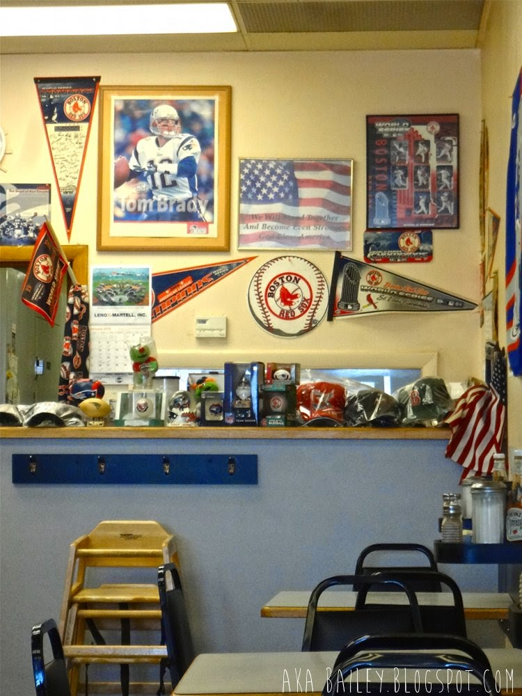 Red Sox and Patriots memorabilia in Donut Villa