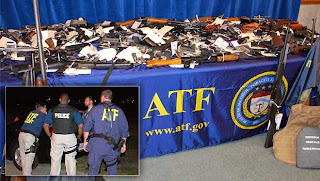 Weapons seized by the ATF, with an insert of an ATF operation.