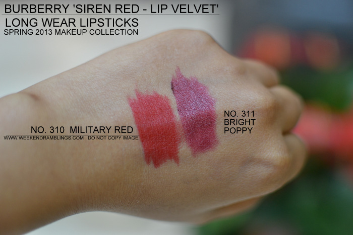 Burberry Spring Summer 2013 Makeup Collection Indian Beauty Blog Siren Red Velvet Lipsticks Swatches Military Red 310 311 Bright Poppy