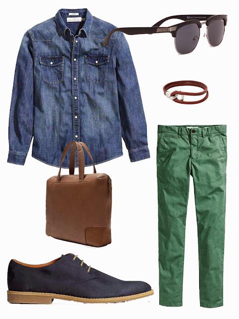 chino vert chemise jeans denim