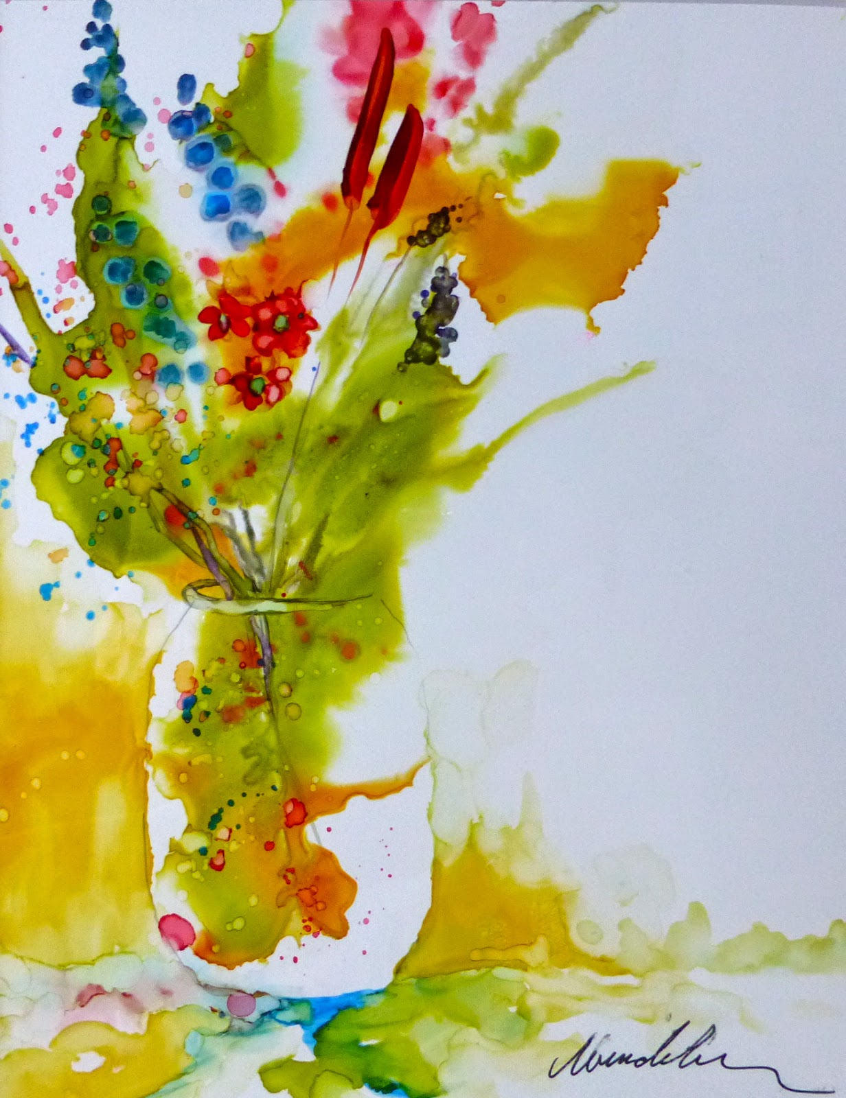 How to paint with alcohol inks by wendy videlock learn for Painting while drinking wine