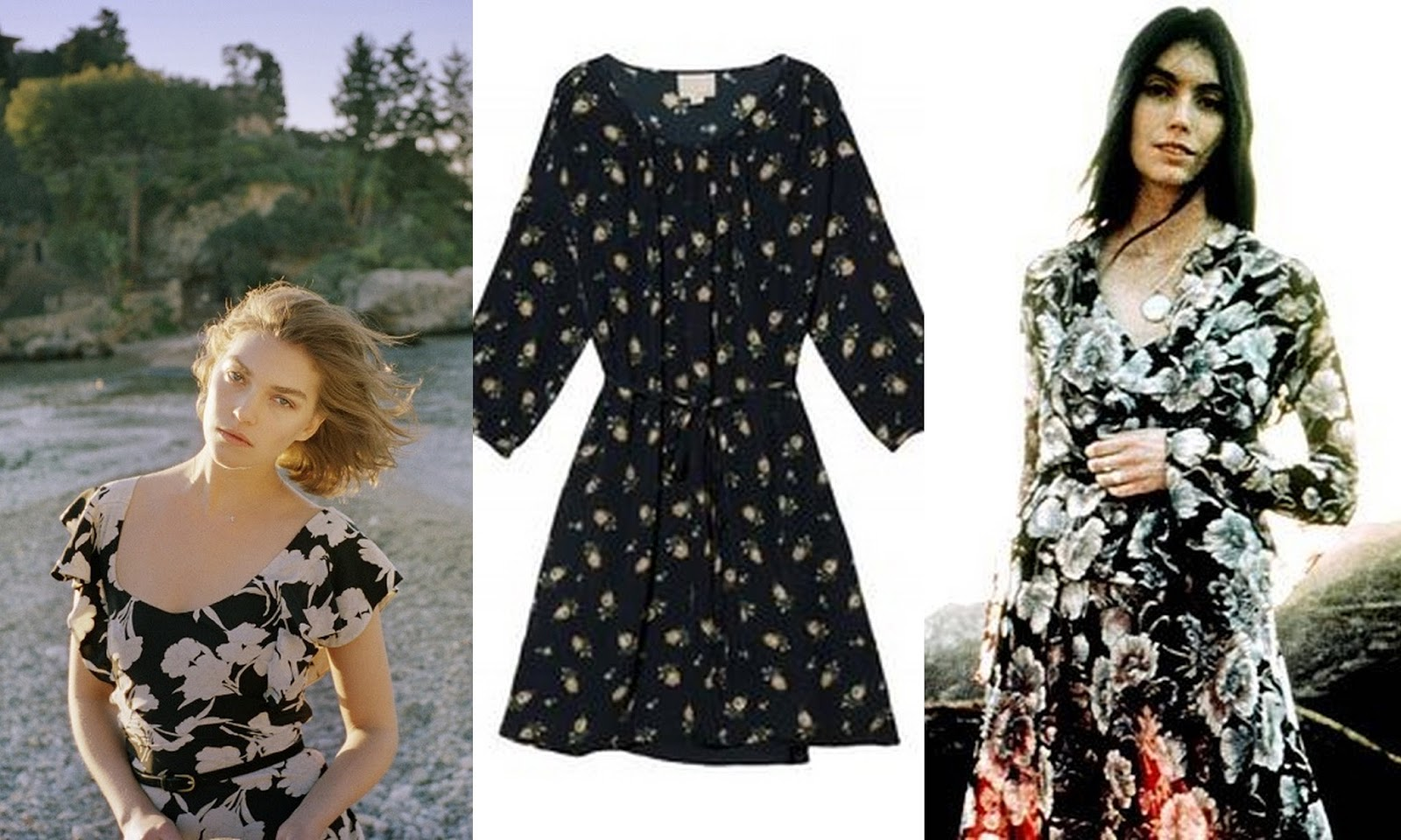 Arizona Muse, Emmylou Harris, Floral dress, floral Print, Emmylou