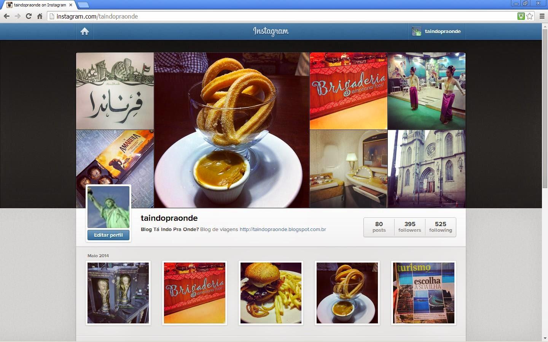 Instagram do blog Tá indo pra onde?