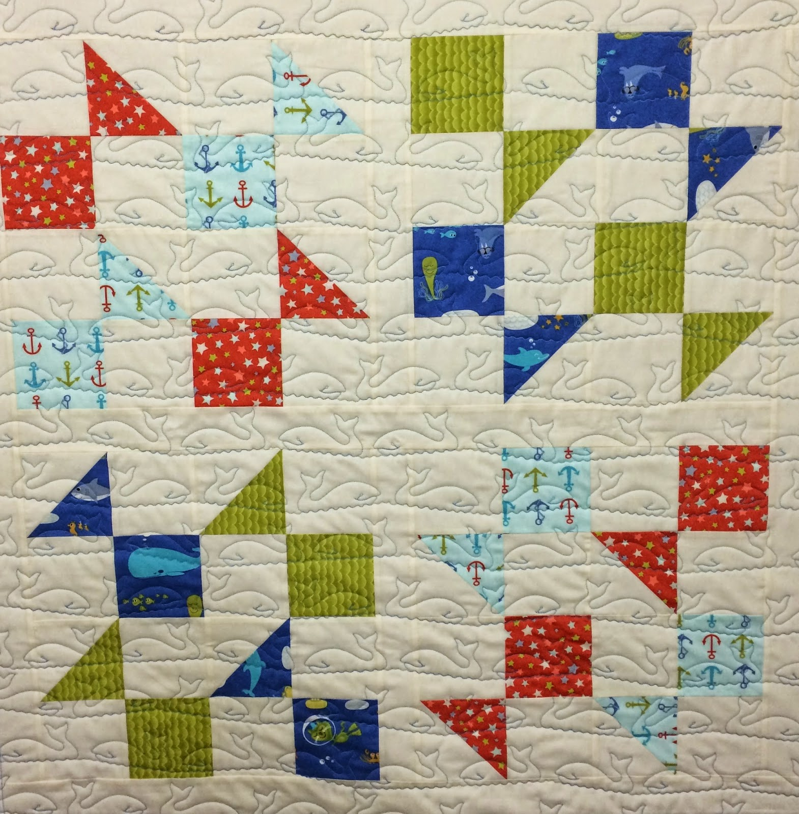 Cheryl Cohorn Baby Quilt with Whales