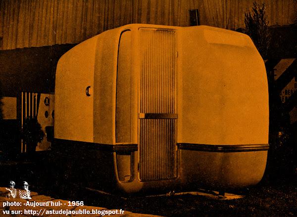 Cabine hôtelière mobile  - Motel cabin  Architectes: Ionel Schein, Yves Magnant  Etude CEBUMS: René Coulon (C.E.B.U.M.S.:Centre d'étude du bâtiment pour l'utilisation des matières de synthèses)  Avec la collaboration des Houillères du Nord et du Pas-de-Calais et de la Société Saint-Gobain. Polychromie : A. Fasani.   Création: 1956