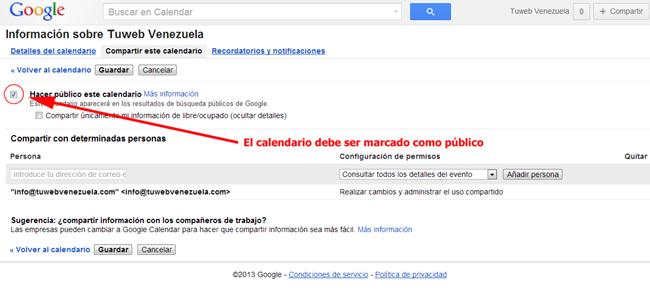 Haciendo público un calendario de Google Calendar