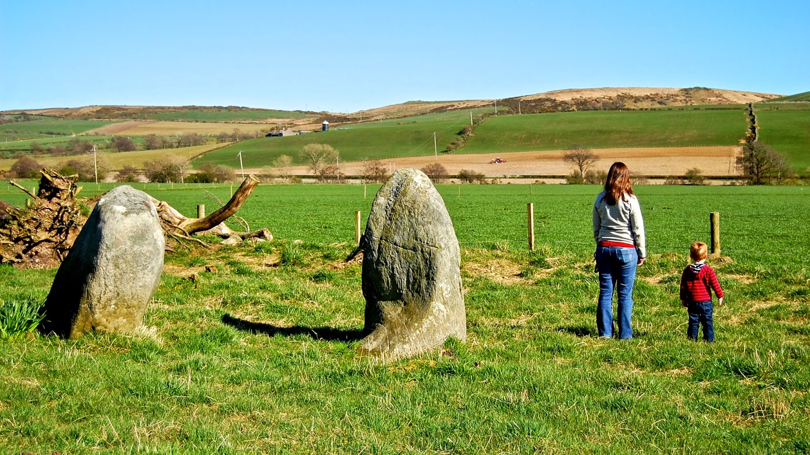 Kate and Jackson help complete the stone circle