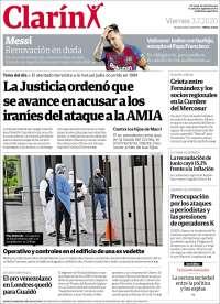 03/07/2020      ARGENTINA  UNA  PRIMERA PÁGINA DE LA PRENSA