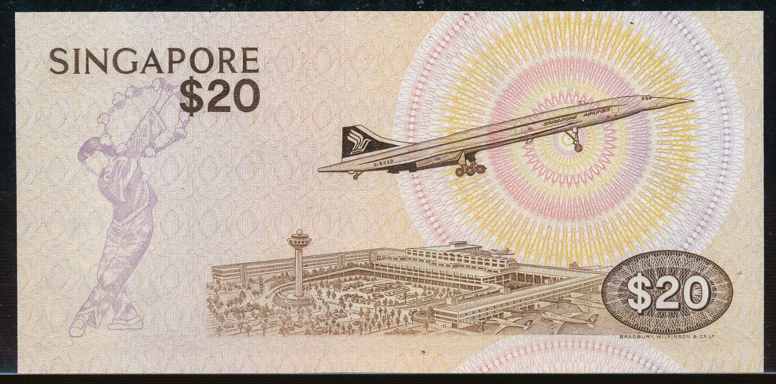 Singapore 20 Dollar note Airport Concorde