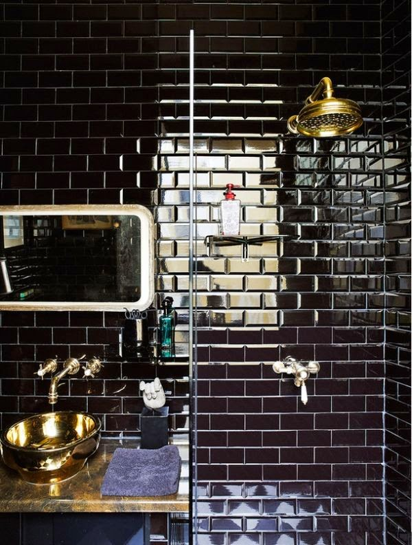 Blomma london trend alert black metro tiles for Black and gold bathroom accessories