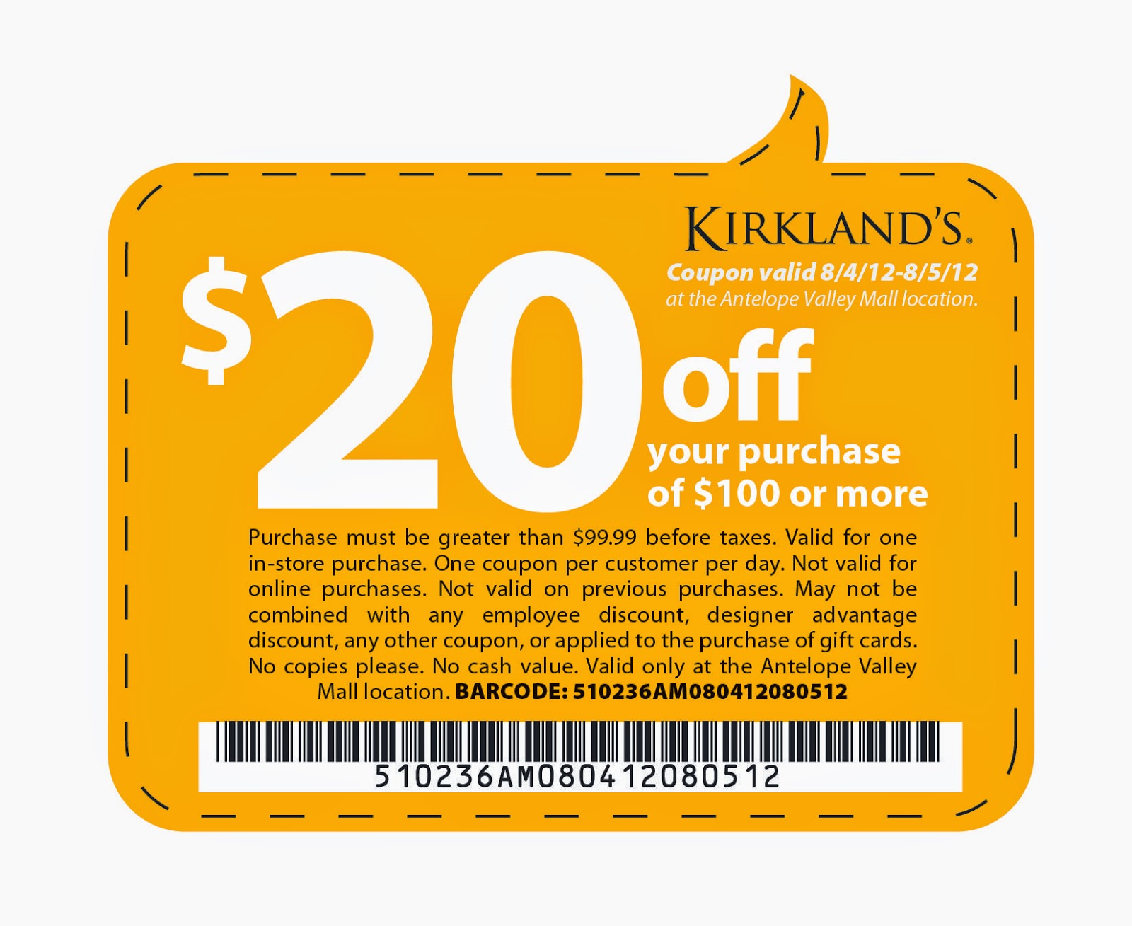Kirklands rotate their printable coupons and promo codes offer every now and then but the most popular offers gets you at least $10 or % off your purchase (sometimes requires a purchase minimum).