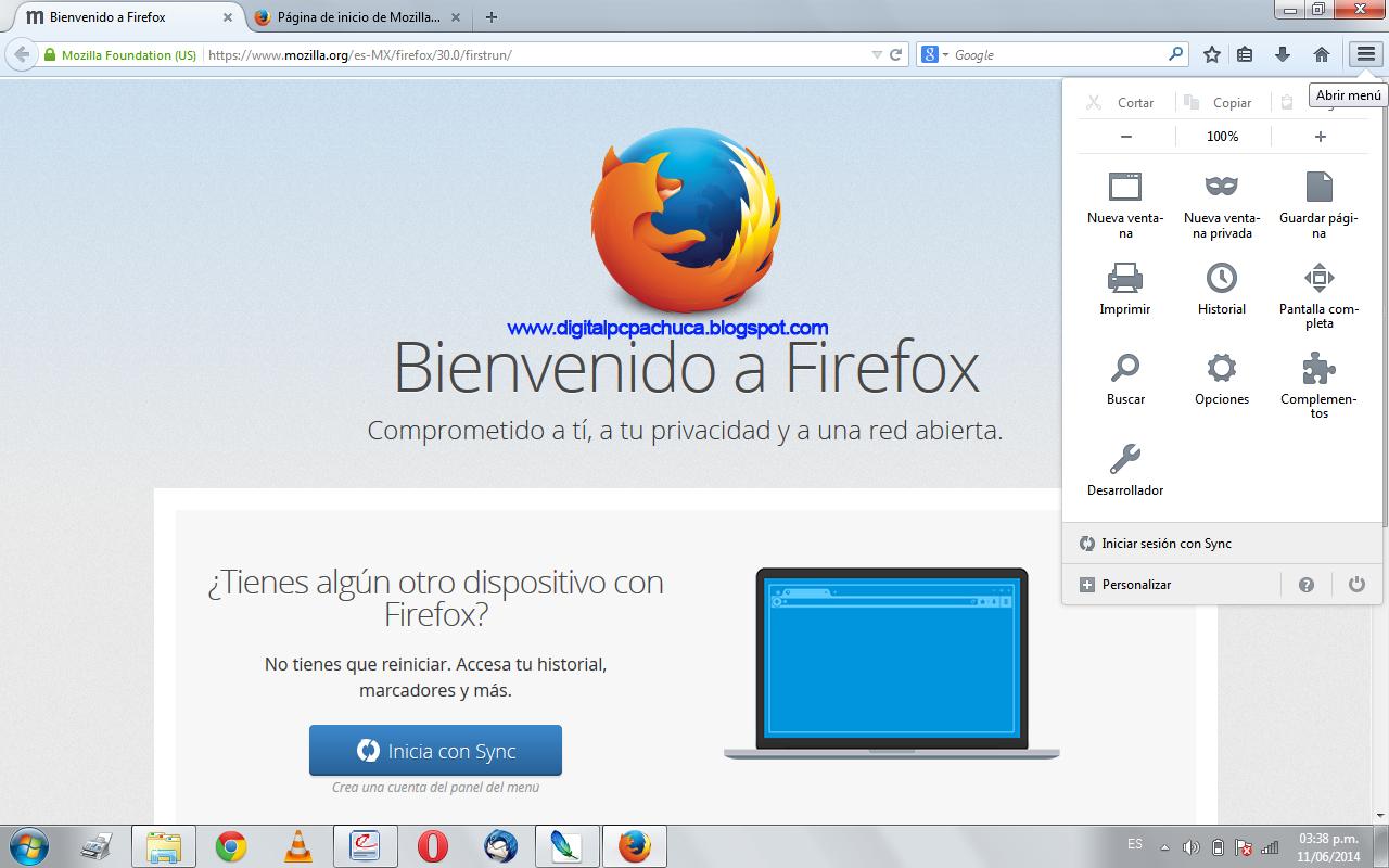 Nuevo diseño y menu de Firefox