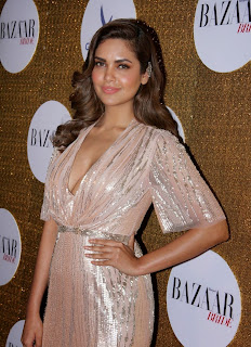 Esha Gupra in Deep Neck Long Golden Gown at The Harpers Bride 1st Anniversary Party Must See