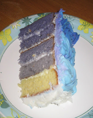 Blue/Purple Ombre Rose Cake - Slice of Cake