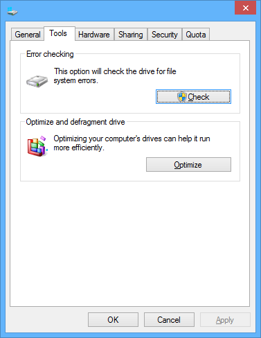 Properties dialog box on Microsoft Windows