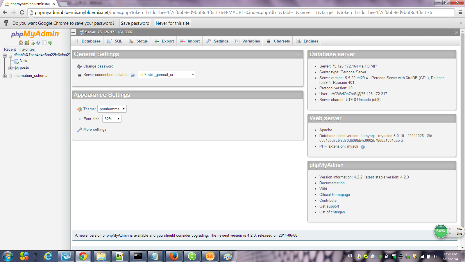 Mysql admin - Use The Username And Password Provide By Step5 You Can Login Into It And Maintain The Mysql On The Cloud