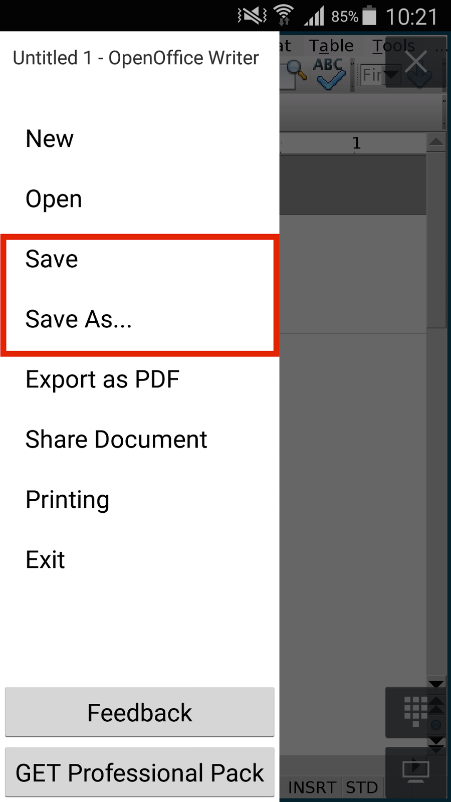how to save openoffice document as pdf