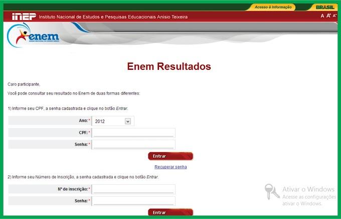 Notas do ENEM 2012 já estão disponíveis para os candidatos