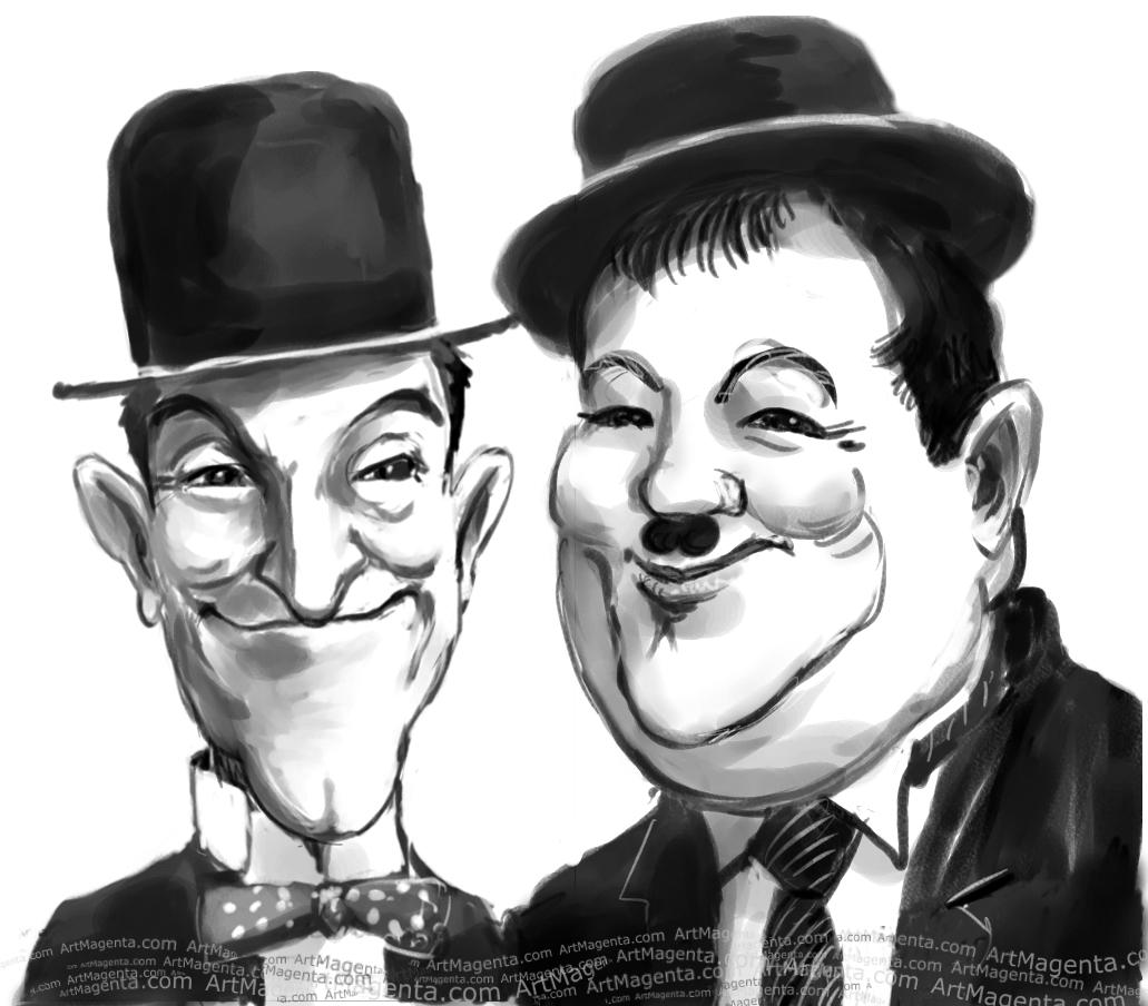 Laurel and Hardy  caricature cartoon. Portrait drawing by caricaturist Artmagenta