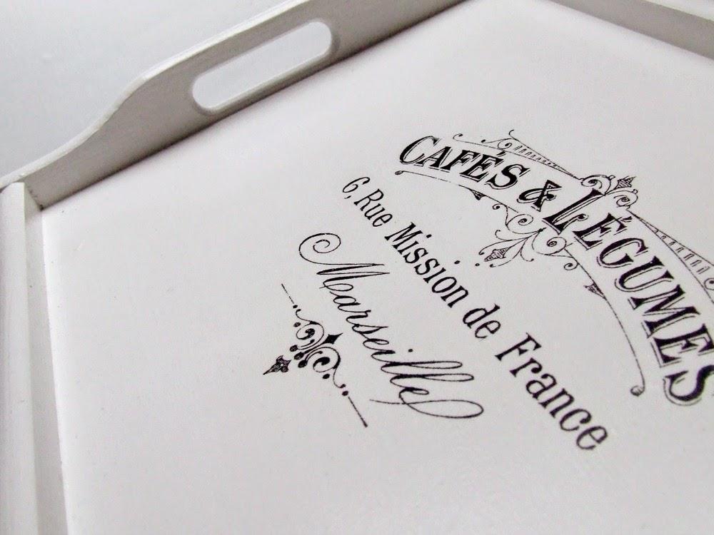 Taca do łóżka taca śniadaniowa biała we francuskim stylu - decoupage Eco Manufaktura