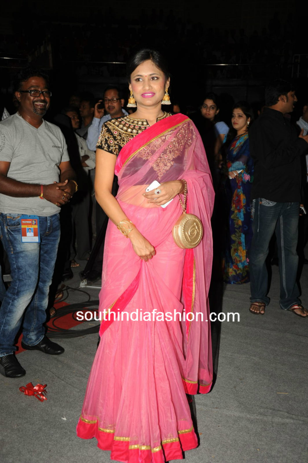 celebrity sarees celebrity in pink lehenga saree south