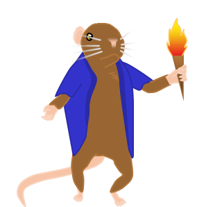 Image: Frank, the mouse, shrugs, looking slightly to the right of the camera while holding his torch in his left hand.
