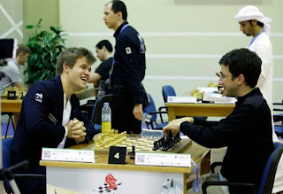 Ronde 7 : Laurent Fressinet tient le choc face au champion du monde d'échecs, Magnus Carlsen - Photo Chessbase