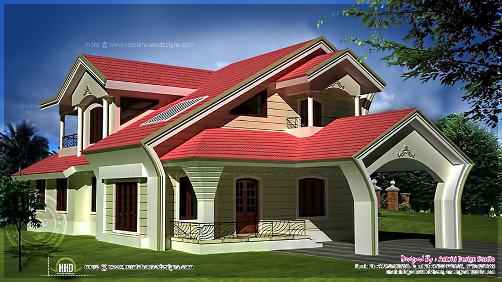 Unique home exterior in 2950 square feet home kerala plans for Unique house exteriors
