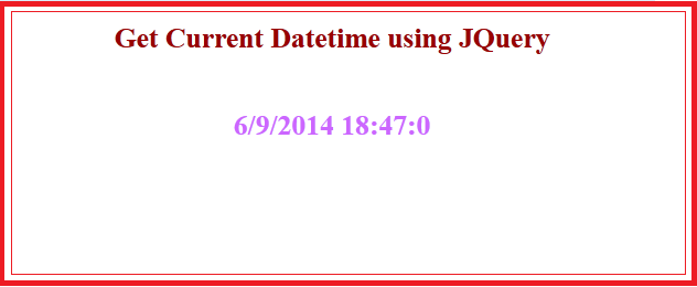 Get current datetime in jquery and javaScript