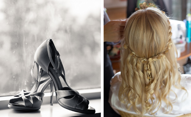 Vestido de novia de Etsy, sandalias de Gloria Ortiz y corona de Vallmain