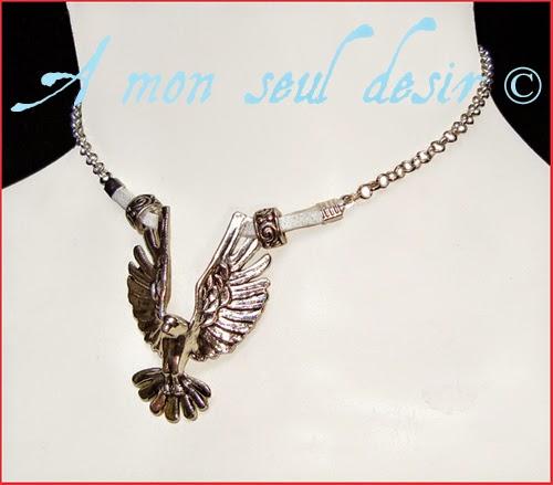 Collier oiseau aigle bird eagle choker necklace Va et Vole comme le Vent