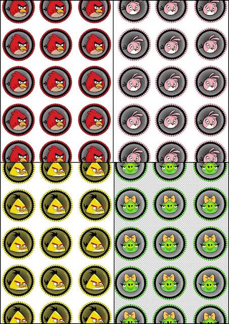 Divertidos Toppers de Angry Birds para Imprimir Gratis.