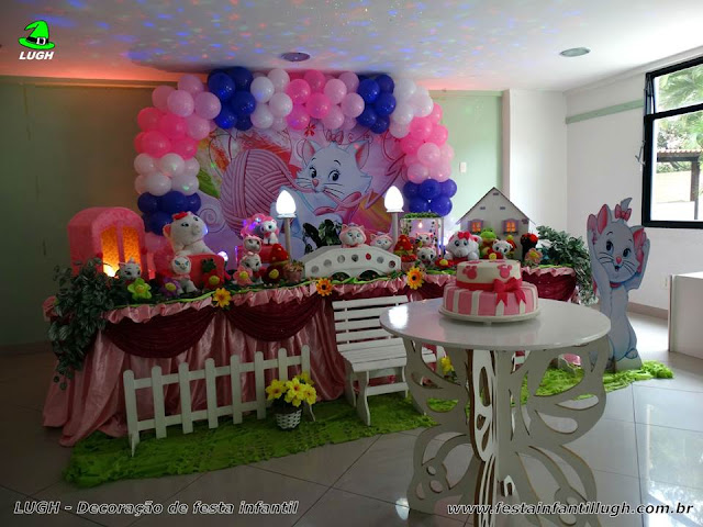 Tema da Gata Marie para decoração de festa de aniversário infantil de meninas realizado na Barra Rj - festa infantil Gata Marie