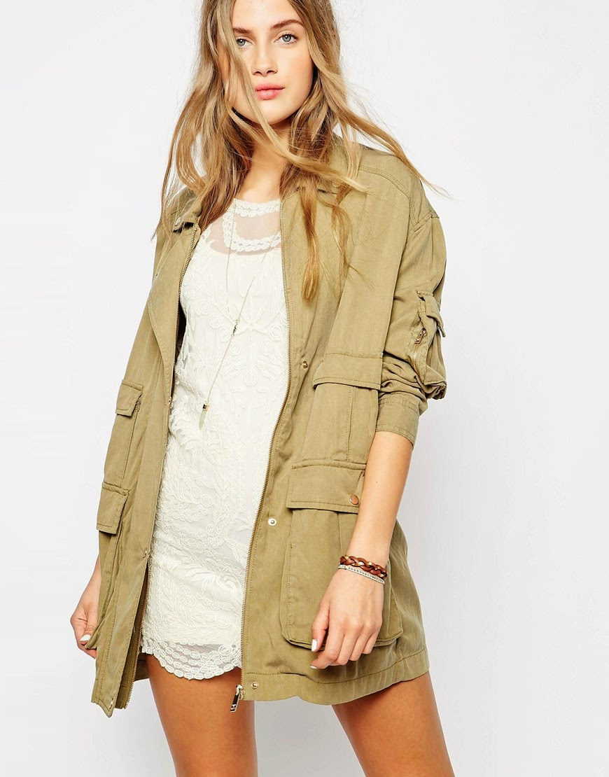 pull bear khaki coat,