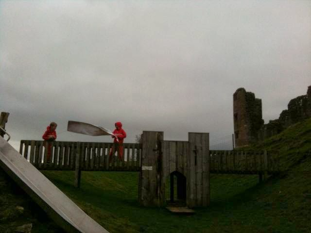 trying to unfurl banner at Brough Castle