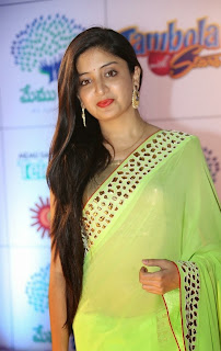 Poonam Kaur in Beautiful Neon Green Transparent Saree at Memy Saitam Dinner With Stars Red Carpet