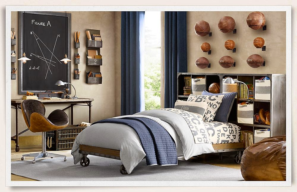 Traditional boys room decor ideas 2015, sport boys room and headboard shelves