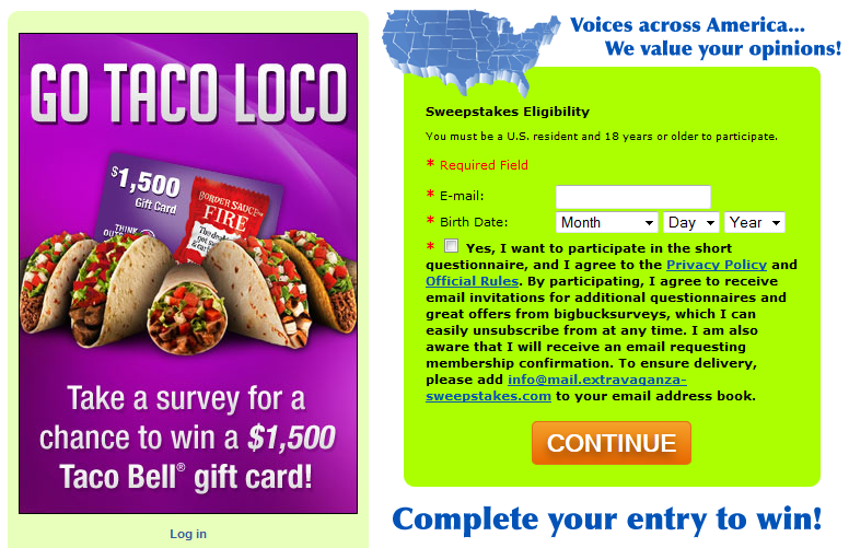 Free Samples | Free Stuff: Win a Free $1,500 Taco Bell Gift Card ...